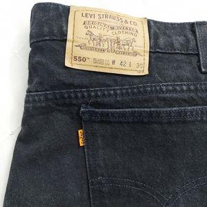 Vintage Orange Tab 550 Levis Black Relaxed Fit